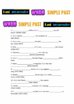Interactive worksheet Past progressive simple past when