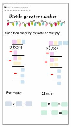 Interactive worksheet Divide greater numbers
