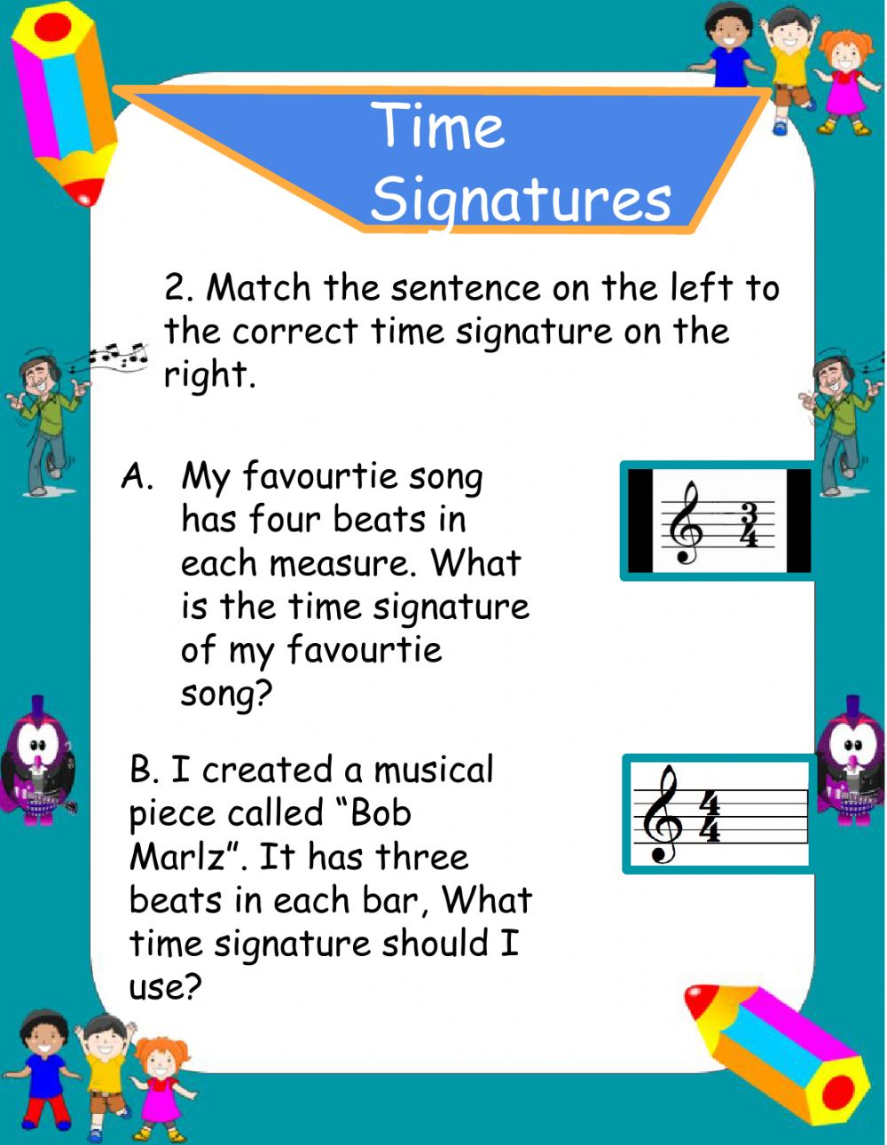 Notes Values & Time Signatures worksheet