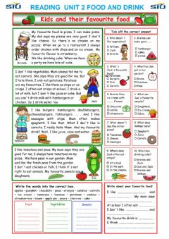 Interactive worksheet Reading food  and drinks   test   a1-a2
