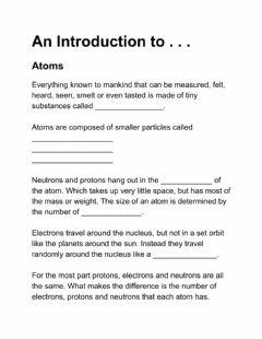 Interactive worksheet Atoms: Introduction