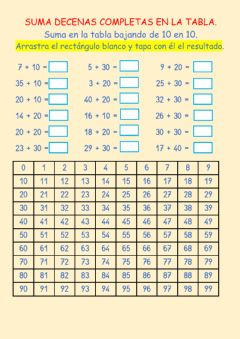 Interactive worksheet Suma decenas completas en la tabla.