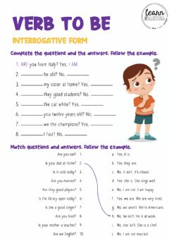 Interactive worksheet Verb to be - Interrogative form