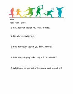 Interactive worksheet Physical Fitness Assessment  - Fall