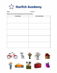Interactive worksheet Classification the living and non living things