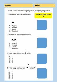 Interactive worksheet Latihan Teori Muzik