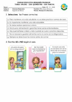Interactive worksheet Manejo de alimentos