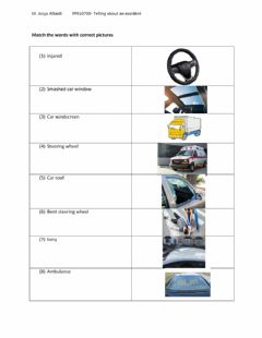 Ficha interactiva Telling about a car accident (Vocab)