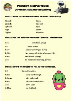 Interactive worksheet Present Simple - Affirmative and Negative