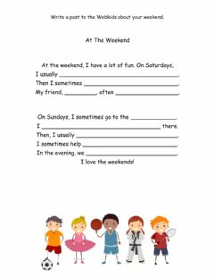 Interactive worksheet Writing: Post about My Weekends