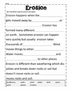 Interactive worksheet Erosion