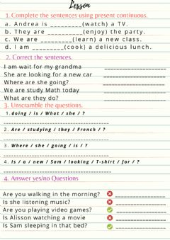 Interactive worksheet Present Continuos