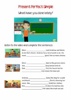 Interactive worksheet Present Perfect Simple - video lesson
