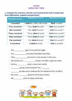 Interactive worksheet SIMPLE PAST affirmative, negative and questions