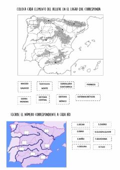 Interactive worksheet Ríos y relieve de españa