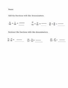 Ficha interactiva Add and subtract like denominators