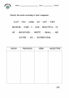 Interactive worksheet Classify the words.