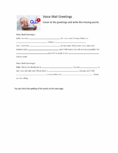 Interactive worksheet Phone Messages