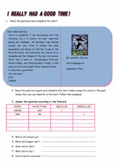Interactive worksheet Reading about the last vacations