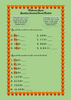 Interactive worksheet Rounding to the nearest ten and hundred