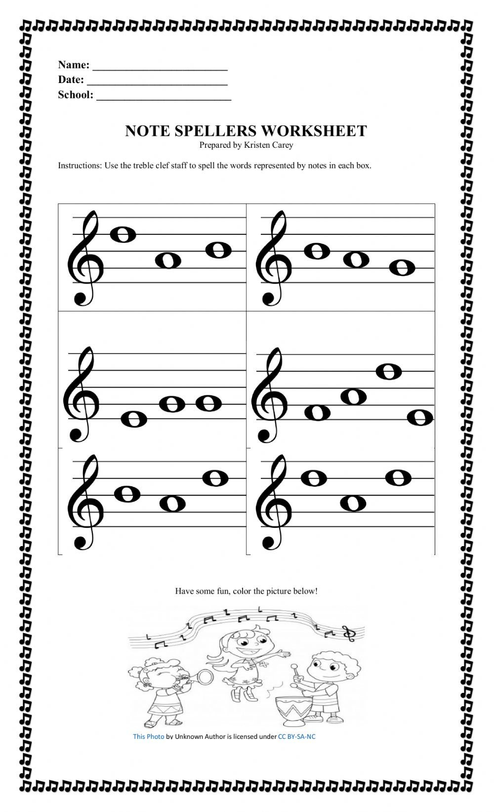 Treble Clef Line and Space Notes CPS Gr.23 worksheet Inside Treble Clef Notes Worksheet