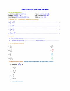 Interactive worksheet Racionalizacion