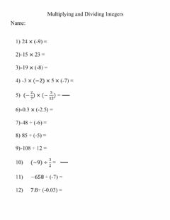 Interactive worksheet Multiplying and Dividing Integers