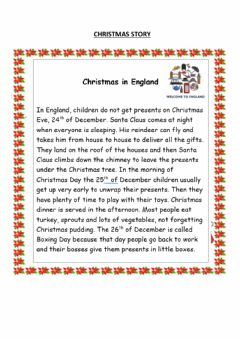 Interactive worksheet Christmas in England