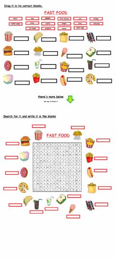 Interactive worksheet Fast food, two in one