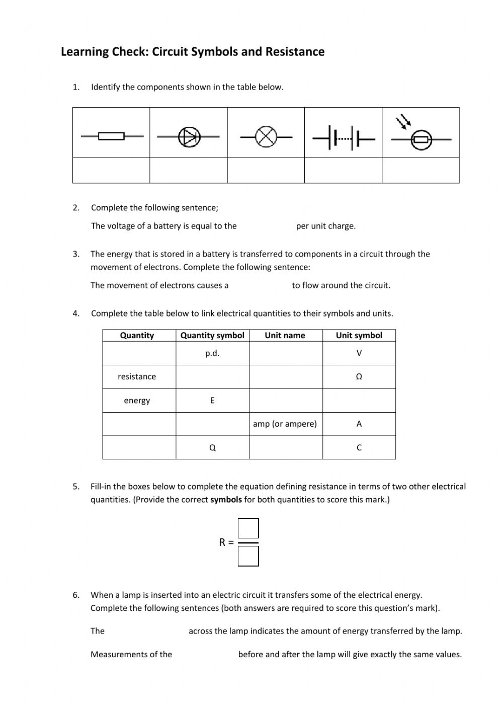 Circuit Symbols and Resistance worksheet With Regard To Electrical Power Worksheet Answers