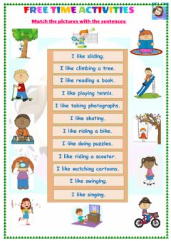 Interactive worksheet Grade 4-Unit 4-Free time activities