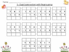 Ficha interactiva 3-Digit Subtraction 100to10 or 10to1 regrouping