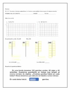 Interactive worksheet Mcd y mcm