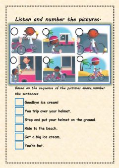 Interactive worksheet Sequence the pictures