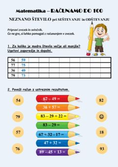 Interactive worksheet Računanje do 100 in poštevanka 2, 4, 5, 10