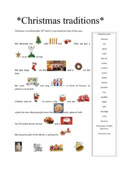 Interactive worksheet Christmas traditions