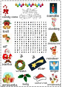 Interactive worksheet Christmas word search