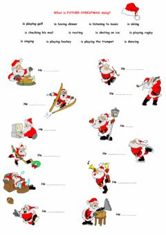 Interactive worksheet What is father Christmas doing?