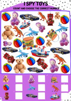 Interactive worksheet I spy toys: count and choose the correct number