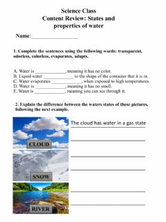 Interactive worksheet States and properties of water