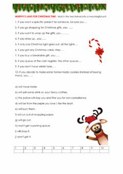 Interactive worksheet Murphy's laws for Christmas time