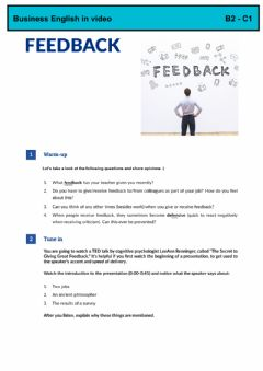 Interactive worksheet GIVING FEEDBACK - Business English in Video