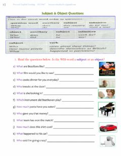 Interactive worksheet Subject and object questions