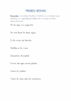 Interactive worksheet Las frases hechas