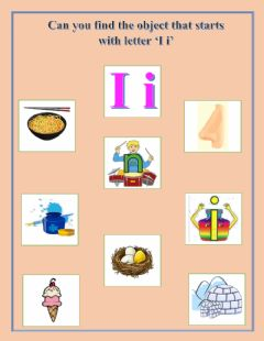Ficha interactiva Find the object that starts with letter 'I i'