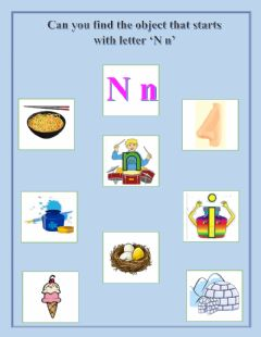 Ficha interactiva Find the object that starts with letter 'N n'