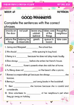 Interactive worksheet Good manners