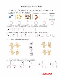 Interactive worksheet Numerele 0-10