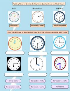 Interactive worksheet La Hora (Time to the Hour, Half Hour, Quarter Hour)