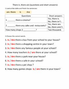 Interactive worksheet There is-are (questions.short answers)